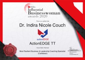 Indira Couch get Influential Businesswomen award in 2020