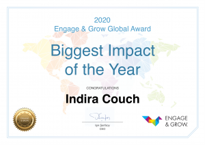 Indira Couch get Engage & Grow Biggest Impact Award of the year 2020